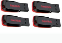 SanDisk Cruzer Blade Pack of 4 32 GB Pen Drive(Red, Black)