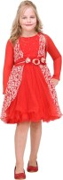 Cutecumber Girls Midi/Knee Length Party Dress(Red, Full Sleeve)