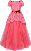 Cutecumber Girls Maxi/Full Length Party Dress(Pink, Cap Sleeve)