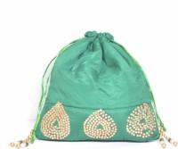Srmgifts HANDMADE DESIGNER VELVET LEAF MOTI GOLDEN DESIGN BAG (SET OF 10 MULTICOLOR) Potli(Multicolor)