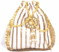 Srmgifts HANDMADE DESIGNER GOLDEN CREAM CHAIN GOTA (SET OF 10 MULTICOLOR) Potli(Multicolor)