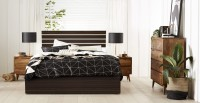 View Auspicious Home Iceland Engineered Wood Queen Bed With Storage(Finish Color -  Wenge) Furniture (Auspicious Home)