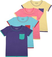 Minnow Girls Casual Cotton Top(Multicolor, Pack of 4)