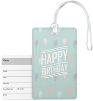 100yellow Designer Luggage Tag- Happy Birthday Print Pvc Bag Tag With Silicon Strap- Ideal For Gift Luggage Tag(Multicolor)