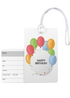 100yellow Luggage Tags - Happy Birthday Print Pvc With Silicon Strap Baggage/Bag Tag -Ideal For Gift Luggage Tag(Multicolor)