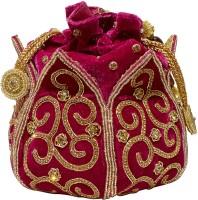 Jewellerkaka Red Velvet Bridal Clutch Pouch(Red, Gold)