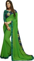 Shaily Retails Solid, Solid Fashion Poly Georgette Saree(Green)