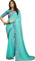 Shaily Retails Embellished Fashion Poly Georgette Saree(Light Blue)