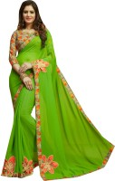 Shaily Retails Embellished Fashion Poly Georgette Saree(Green)