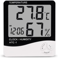 HTC HTC-01 Multifunctional 5 in 1 Digital Temperature Humidity Meter / Calendar / Clock / Alarm Hygrometer Digital Thermometer(White and Black)