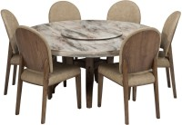 Durian SINCLAIR Stone 6 Seater Dining Set(Finish Color - Cream)