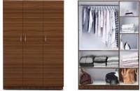 View Auspicious Home Havelock Engineered Wood 3 Door Wardrobe(Finish Color - Teak & White) Furniture (Auspicious Home)