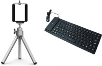 View ReTrack Flexiable Usb Keyboard With Adjustable Mini Mobile Phone Stand Clip Bracket Holder Combo Set Laptop Accessories Price Online(ReTrack)