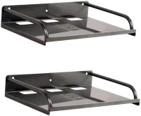 View MASTERFIT SET OF 2,ST002 Iron Wall Shelf(Number of Shelves - 2, Black) Furniture (Masterfit)