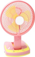 View ShopyBucket Rechargeable With Emegency Light Bright Led 3 Blade Table Fan(Pink) Home Appliances Price Online(ShopyBucket)