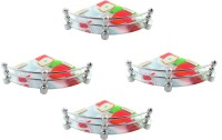 View RoyaL Indian Craft Pivot Bracket Set of 4 High Definition Apple Printed 8 By 8 Inch Glass Wall Shelf(Number of Shelves - 4, Multicolor) Furniture (royaL indian craft)