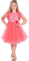 Cutecumber Girls Midi/Knee Length Party Dress(Red, Cap Sleeve)