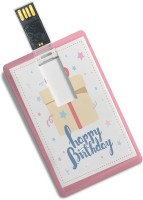 100yellow Credit Card Shape Happy Birthday Printed 8GB Fancy Pendrive 8 GB Pen Drive(Multicolor)
