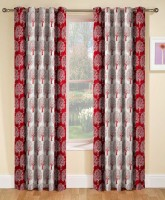 Optimistic Home Furnishing 213 cm (7 ft) Polyester Door Curtain (Pack Of 2)(Floral, Maroon)