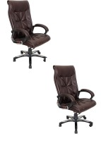 View kschairs Leatherette Office Arm Chair(Brown, Set of 2) Furniture (Ks chairs)