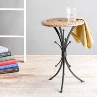 View Desi Karigar Walnut & Black Solid Wood End Table(Finish Color - Brown) Furniture (Desi Karigar)