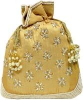 Jewellerkaka Floral Embroidery Golden Potli Pouch(Gold, White, Yellow)