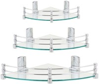 View DECZO Long hard Bracket Combo of 8 inch , 10 inch and 12 inch Corner Glass Wall Shelf(Number of Shelves - 3, Clear) Furniture (DECZO)