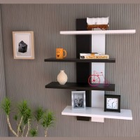 View mater wod utility wall shelf MDF Wall Shelf(Number of Shelves - 2, Black, White) Furniture (mater wod)