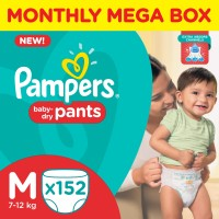 Pampers Pants Diapers Monthly Mega Box - M(152 Pieces)