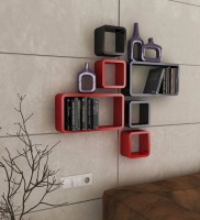 View QESYAS Wooden wall shelf set of 6 MDF Wall Shelf(Number of Shelves - 6, Multicolor) Furniture (Qesyas)