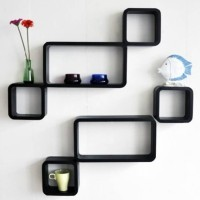 View QESYAS New Look Modern wall shelf MDF Wall Shelf(Number of Shelves - 6, Black) Furniture (Qesyas)