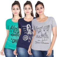 FLEXIMAA Printed Women Round Neck Multicolor T-Shirt(Pack of 3)