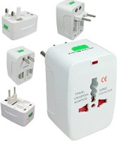 View Dice Universal All in One World Travel Power Adapter Surge Protector Charger Plug AU UK US EU Plug Worldwide Adaptor (White) Worldwide Adaptor(White) Laptop Accessories Price Online(Dice)