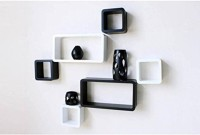 View VAS Collection Home Wooden Wall Shelf(Number of Shelves - 6, Black, White) Furniture (VAS Collection Home)