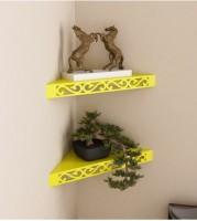 View khan handicraft khan handicraft MDF Wall Shelf(Number of Shelves - 2, Yellow) Furniture (Khan Handicrafts)