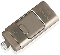 Maya FlashDrive External Storage for for iOS, Android & MAC/PC - Lightening and Dual USB & MicroUSB Connector - 32 GB 32 GB Pen Drive(Gold)