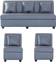 View Bharat Lifestyle Delta Leatherette 3 + 1 + 1 Grey Sofa Set(Configuration - 3+1+1) Furniture (Bharat Lifestyle)