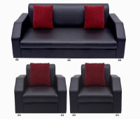 View Bharat Lifestyle Italia Fabric 3 + 1 + 1 Black Sofa Set(Configuration - 3+1+1) Furniture (Bharat Lifestyle)
