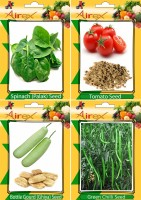 Airex Spinach (Palak), Tomato, Bottle Gourd (Ghiya), Green Chilli Seed(25 per packet)