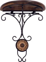 View Pebble crafts Wooden and iron Decorative Wall hanging Bracket Shelf Iron Wall Shelf(Number of Shelves - 1, Black) Furniture (Pebble crafts)