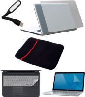 View FineArts 5in1 Combo of Premium Quality Trink Crystal Clear Stretchable Transparent Skin for Laptop with Usb led Light, Screen Protector Guard, Key Skin and Laptop Sleeve for 15.6 inches Combo Set Laptop Accessories Price Online(FineArts)