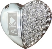 AK FUNDAS Heart Shape USB covered with beautiful Diamonds 32 GB Pen Drive(Silver)