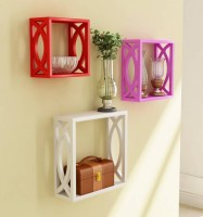 View Masterwood squre wall shelve MDF Wall Shelf(Number of Shelves - 3, Pink, Red, White) Furniture (Masterwood)