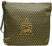 Clean Planet Black Silk Clutch with hand embroidery Pouch(Black)
