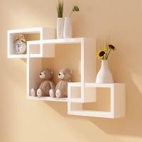 View Artesia Inntersecting Wooden Wall Shelf(Number of Shelves - 3, White) Furniture (Artesia)