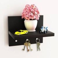 View Artesia 3 Hooks Key holder Wooden Wall Shelf(Number of Shelves - 1, Black) Furniture (Artesia)