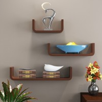 View Artesia Wooden Wall Shelf(Number of Shelves - 3, Brown) Furniture (Artesia)