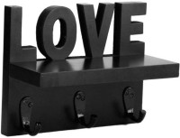 View Artesia Love Key holder Wooden Wall Shelf(Number of Shelves - 1, Black) Furniture (Artesia)