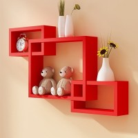 View Artesia Inntersecting Wooden Wall Shelf(Number of Shelves - 3, Red) Furniture