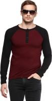 Urbano Fashion Solid Men Henley Maroon T-Shirt